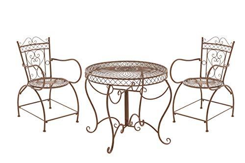 Conjunto de Muebles de Jardín Sheela I Set de 2 Sillas & 1 Mesa de Hierro I Juego de Muebles de Exterior en Estilo Rústico I Color:, Color:Antiguo marrón