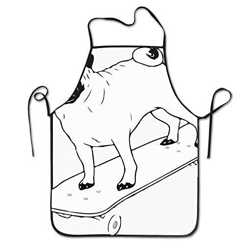Drempad Schürzen Skateboard Pug Puppy Dog Deluxe Aprons Personalized Printing Kitchen Apron