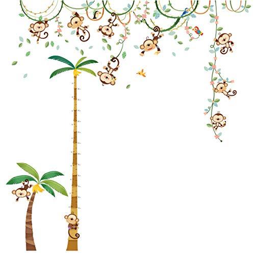 Decowall DA-1507P1607 Affen Weinrebe Palme Höhentabelle Tiere Wandtattoo Wandsticker Wandaufkleber Wanddeko für Wohnzimmer Schlafzimmer Kinderzimmer