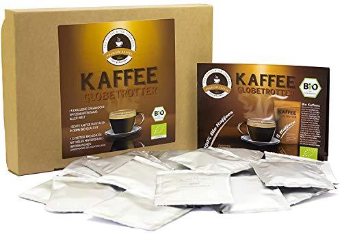 Kaffee Globetrotter - Bio-Box - Mit 25 Kaffeepads für Senseo ®-Maschinen aus 5 Sorten Single-Origin Spitzenkaffee - Kaffee Weltreise als Geschenk für Weihnachten, Geburtstag, Probierset