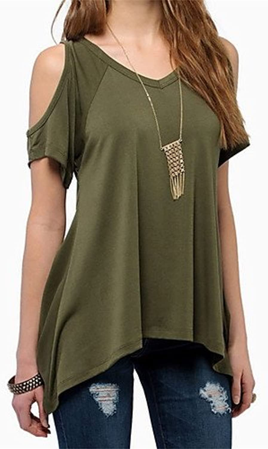 Women's Beach TShirt  Solid colord V Neck