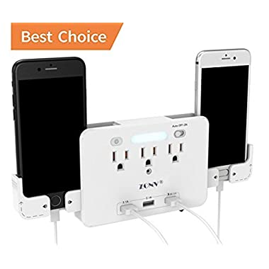 USB Wall Charger,Portable Wall Mount Outlet Plug with Dual USB Charging Ports and Quick Charger 3.0,3-Outlet Adapter,LED Sensor Night Light,2 Slide Out Phone Holders For iPhone Samsung iPad by ZONV