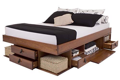Funktionsbett Bali 180x200 Karamell - Bett mit viel Stauraum und Schubladen, optimal für kleine Schlafzimmer - Modernes Stauraumbett aus Kiefer Massivholz Weiss lackiert - Preis inkl. Lattenrost