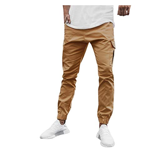 XUETON Mens Casual Slim Fit Tapered Cargo Pants Solid Fashion Chino Trousers Jogger Sweatpants (Khaki,X-Large)