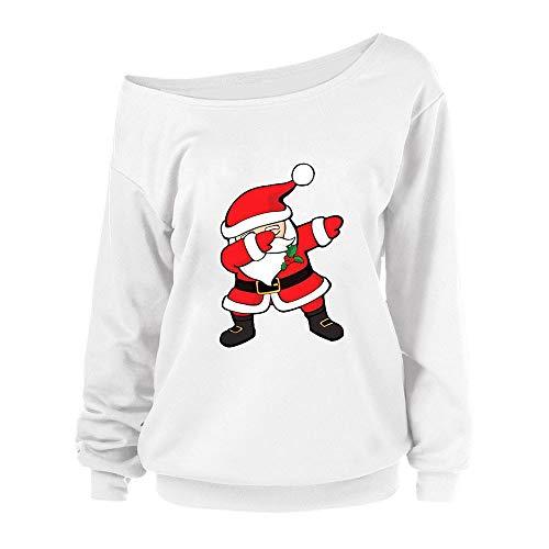 YWLINK Damen Hip Hop Rap SchräGe Kragen Weiß Einfach Süß Weihnachtsdruck Lange ÄRmel Sweatshirt Elegant Pullover Tops MäDchen Mode Blusen Shirt(S,B)