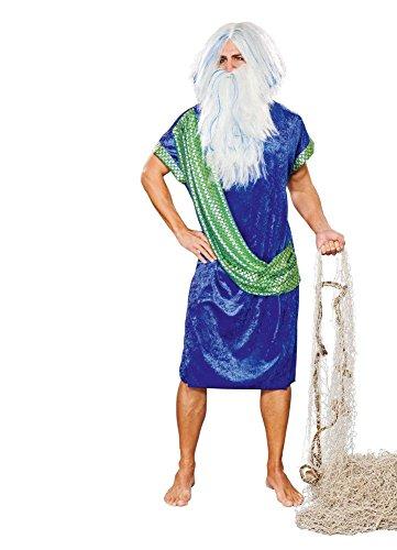 Disfraz de Poseidon Adult Robe Azul-Verde Neptune Sea God Carnival Neptune Festival (L)