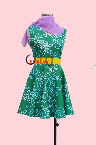 LJYNB Disfraz de Disgust de Inside Out para mujer de Halloween Disfraz de Disgust para mujer Juego de rol Vestido verde con bufanda M verde