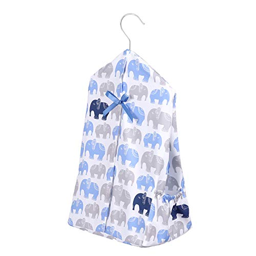[Upgraded] TILLYOU Hanging Nursery Diaper Storage Organizer Portable & Fold-able Diaper Caddy Stacker with Side Pockets for Crib, Machine Washable and Roomy Space, DIY 3 Parts Included, Navy Elephants