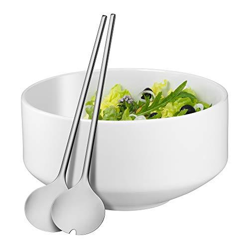 WMF Moto Salatschüssel Set 3-teilig, Salatbesteck 32 cm mit Salatschale, runde Schale Ø 26 cm, Porzellan, Cromargan Edelstahl poliert, spülmaschinengeeignet, weiß
