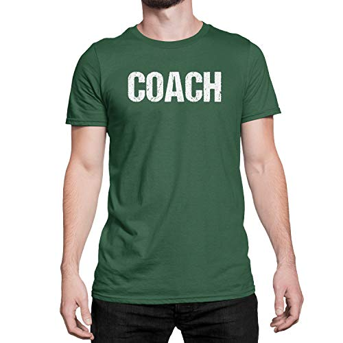 Coach T-Shirt Adult Mens Tee Shirt Front Screen Printed Tshirt (Deep Forest-White, XL)