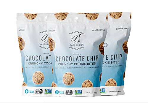 Bakeology Vegan Cookies Gluten Free Crunchy Mini Cookie Bites, Dairy Free, Non-GMO, 0g Trans Fat, Plant Based Dessert Sweets, Made with Coconut Oil & Pure Ingredients (Chocolate Chip)