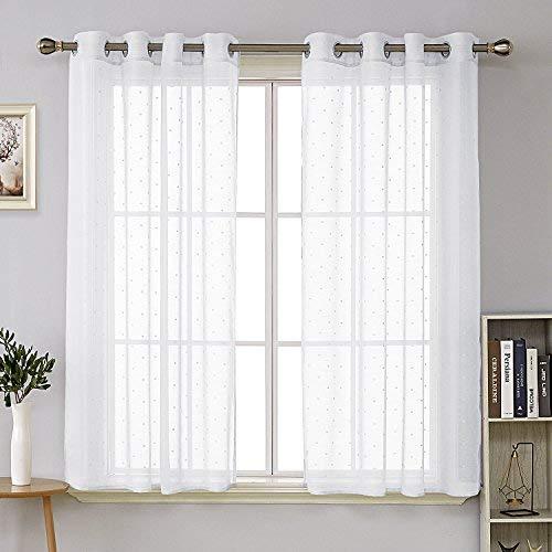 Deconovo Voile - Cortinas Transparentes para salón (poliéster, 175 x 140 cm), diseño de Lunares, Color Blanco
