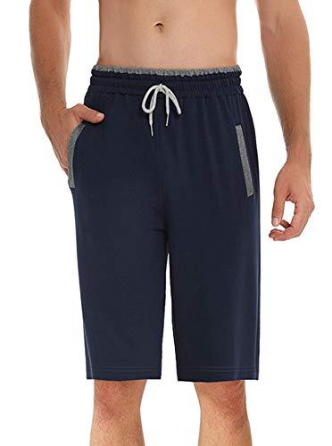 ihot Pantaloni Corti Pigiama da Uomo in Cotone Morbide Bottoms Uomo Pantalone da Notte Shorts per casa Estivi - Marina Militare - M