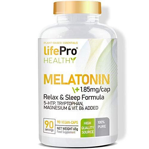 Life Pro Healthy melatonina 5HTP y triptófano para regular el sueño y reducir el cansancio y la fatiga – Melatonina, magnesio y vitamina B6 para ayudar al equilibrio emocional – 90 cápsulas