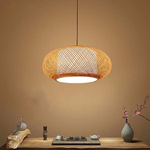 Lámpara HEYUN lámpara de bambú de araña de 40 cm / 50 cm / 60 cm Lámpara de bambú DIY chal de mimbre tejido E27 dormitorio/sala de estar/oficina,50 * 22cm