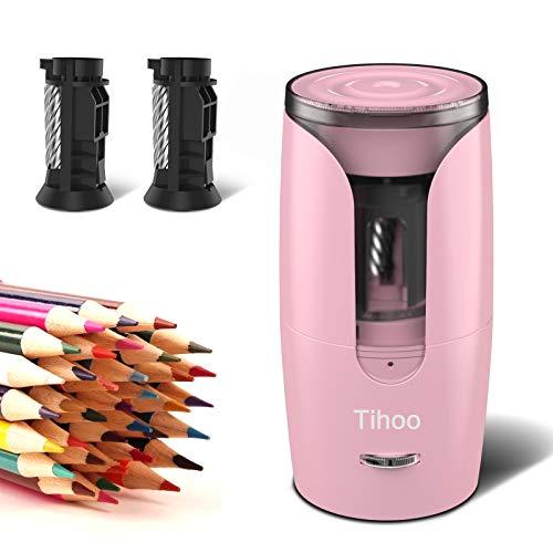 Tihoo電動シャープナー 全自動鉛筆削り 子供用の鉛筆削り 強いスパイラルカッター 6-8mmの色鉛筆用の電動鉛筆削り リチウム電池の供電方式 ムダ削り防止機能 予備のスパイラルカッターが付き 子供 学校 事務用(ピンク)