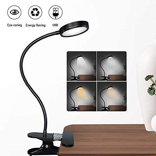 YSNJG Led-clip-lamp, 3-traps, kleurtemperatuur, leer, tafellamp, 360   graden flexibele zwanenhals-clip-tafellamp filmlamp 3 in 1 desktop-kinderlamp [energieklasse A +++]