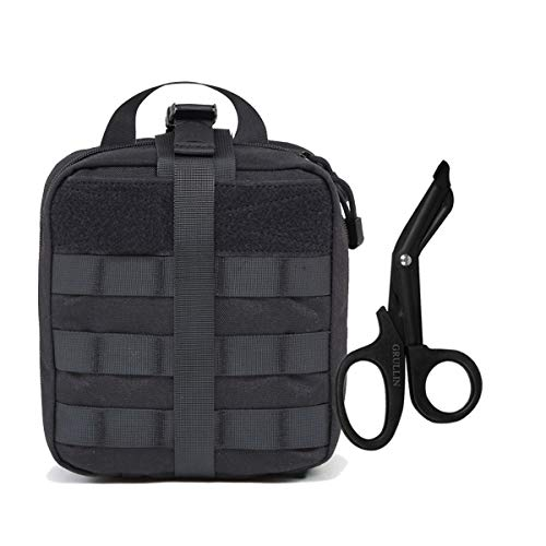 Tactical MOLLE Trauma IFAK Pouch Kit Bag+Stainless Steel Bandage Scissors Tactical Gear:Rip-Away EMT First Aid Emergency Survival Gear Medical Trauma Shears Pouch Kit Bag