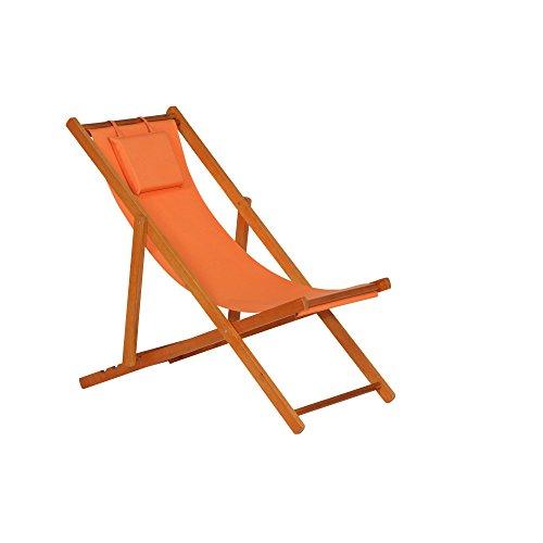 Siena Garden 672582 Liegestuhl Faro, 110x58x90cm, Gestell: Hartholz, in light teak, Kissenbezug aus Polyester mit 230g/m² in orange