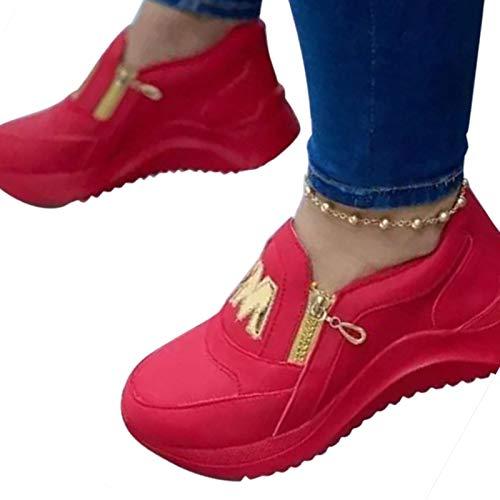 YYDS Damen Sneaker, Women's Fashion Letter Decoration Comfortable Zipper Design Sneakers, Round-Toe-Sneakers mit Reißverschluss (Rot, 36)