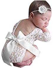 Fashion Newborn Girls Baby Costume Outfits Photography Props Flower Headdress Pants Sets