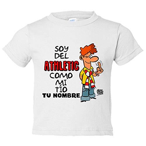 Camiseta niño soy del Athletic de Bilbao como mi tio personalizable con nombre - Blanco, 7-8 años