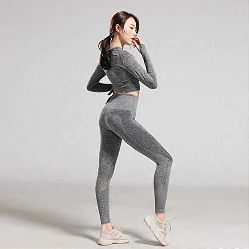 GFDHGT Seamless 2 Pieces Set Women Sport Suit Gym Clothes Fitness Long Sleeve Crop Top Tummy Control Leggings Yoga Set,Gray,M