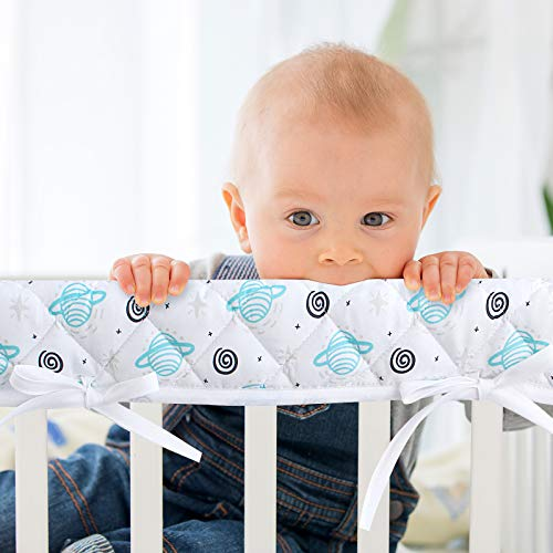 3-Piece Padded Baby Crib Rail Cover Protector Set from Chewing, Crib Rail Teething Guard for Standard Cribs, 1 Front Rail and 2 Side Rails, Secure Crib Rail Guard