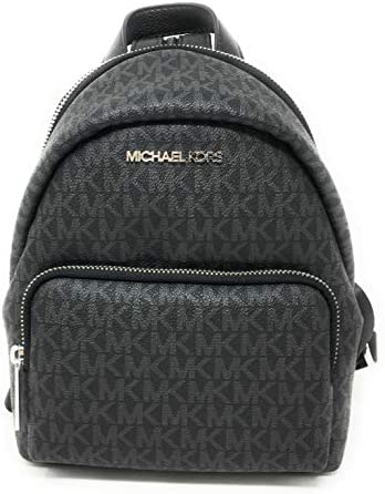 Michael Kors Erin Small Black Signature Leather Shoulder Backpack Black PVC product image