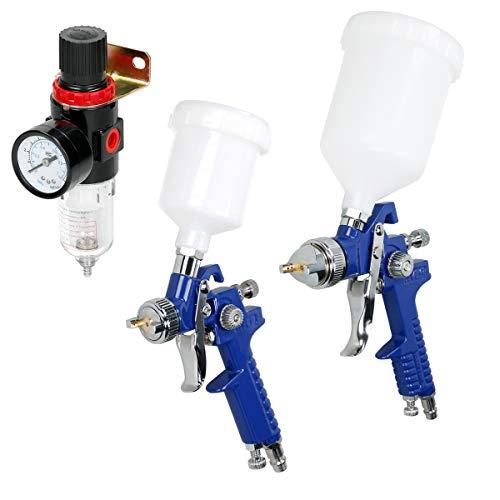 ECD Germany 2 x HVLP Lackierpistole 0,8 mm + 1,4 mm Düsennadeln | Farbsprühsystem mit Plastikbecher 100 ml + 600 ml | 1/4'' Wasserabscheider für Kompressor | Luftdruckregler