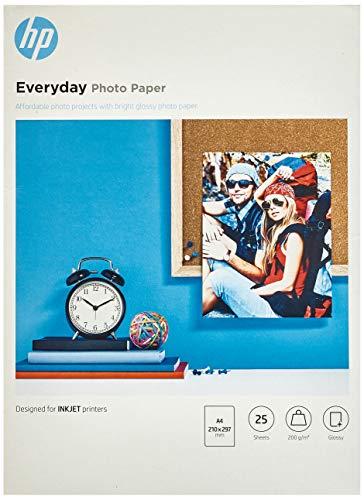 HP Evertday Glossy Photo Paper Q5451A Carta Fotografica Lucida Originale HP, Compatibile con Stampanti a Getto di Inchiostro, 21 x 29,7 cm (A4), Grammatura 200 g/m², Confezione da 25 Fogli, Bianco