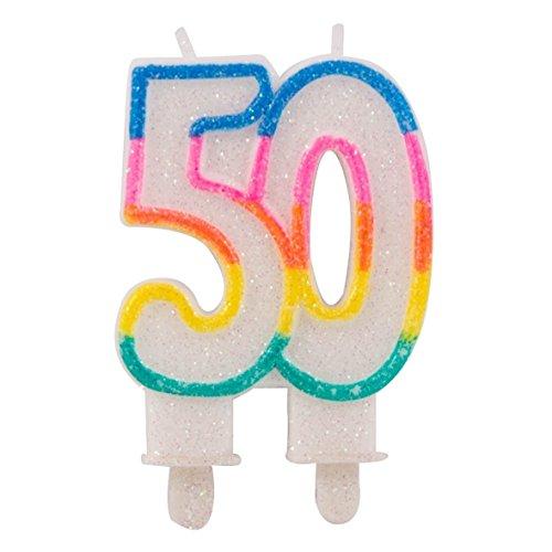 Folat - Candele glitter 50 anni con 2 supporti