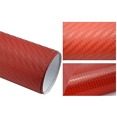 EWDF 152/127cm Colorido 3D Fibra de Carbono Vinilo Envoltura de automóviles Película Pegatina Coche Calcomanía de automóvil Pegatinas de Coche DIY (Color Name : Red, Size : 152x10cm)
