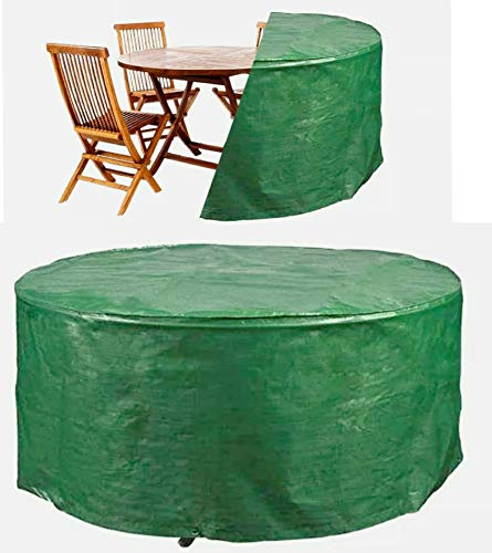 ADEPTNA Heavy Duty LARGE Round Patio Furniture Table Chairs Cover – Protects your Table and Chairs All Year Round from the Weather Dirt and Grime (225CM X 98CM)