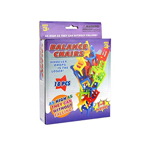 PRENKIN 18pcs del Balance de apilamiento Juego Mini Sillas de niños de los niños educativos turística Rompecabezas Equilibrio del Entrenamiento del Juguete