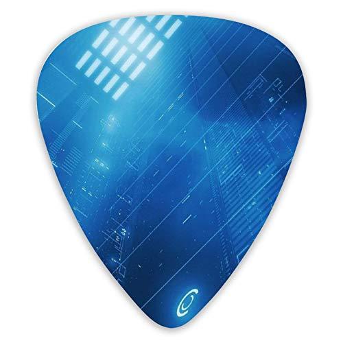 Púas de guitarra con patrón digital azul Púas de ukelele 12 piezas, incluidas 0,46 Mm, 0,71 Mm, 0,96 Mm Guitarra acústica