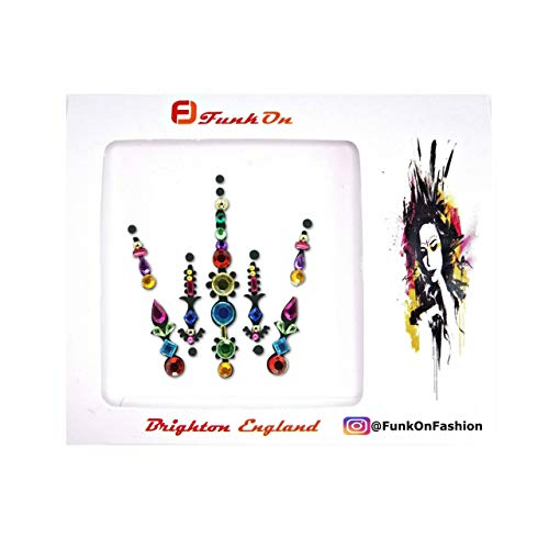 FunkOn® Rainbow Pride Face gem Diamante Stick on Face jewels Multi Coloured Large Festival Bindi Colourful Glitter Body Sticker Festival make up accessories bc14