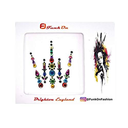 FunkOn® Rainbow Pride Face gem Diamante Stick on Face jewels Multi Coloured Large Festival Bindi Colourful Glitter Body Sticker Festival make up accessories BC13RBG
