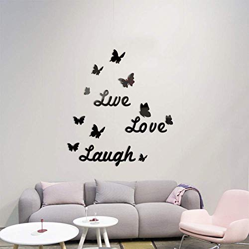 SITAKE 3D Acrylic Mirror Wall Decor Stickers, DIY Love Live Laugh Butterfly Combination Art Self-Adhesive Wall Decals, Home Decorations for Living Room, Bedroom, Bathroom, Farmhouse (Black Butterfly)