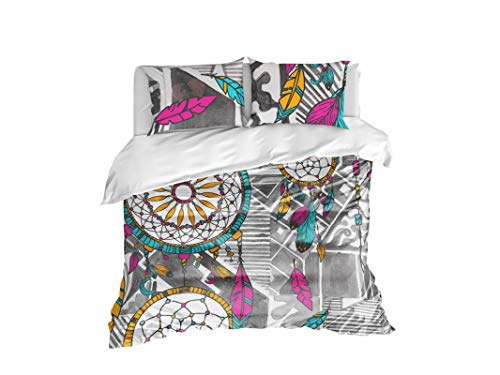 Cool Bedding, acchiappasogni Hippie Bedding Set di 4o 3pz Acquerello Copripiumino per Letto Singolo o coccolare Laptop, Twin Full Queen King Set. Boho Chic Bedding, Colorful, Full 83'x87'