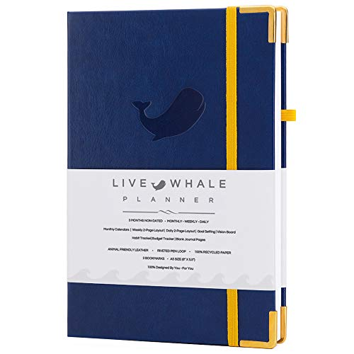 Live Whale Planner - A5 Daily Planner, Daily Journal, Daily Planner undated, and Habit Tracker. Crafted to Increase Productivity, Track Goals & Live Your Best Life. (Blue)