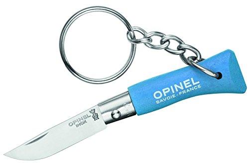 Opinel Schlüsselanhänger, Stahl 12C27, Rostfrei, Blauer Holzgriff Mini-Messer