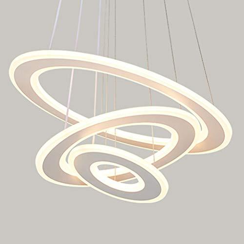 Pendelleuchte LED Moderne Esstisch Lampe 154W Veränderbare Form Kronleuchter 3-Ring Rund Dimmbar Fernbedienung Hängeleuchte Wohnzimmer Deckenleuchte Schlafzimmer Höhenverstellbar Hängelampe Weiß