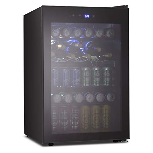 Joy Pebble Beverage Cooler and Refrigerator Mini Fridge with Glass Door for Soda Beer or Wine Small Drink Cooler for Home Office or Bar (4.5cu.ft)