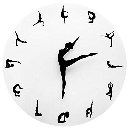 HYSJLS Reloj de pared creativo yoga fitness flexible silencioso moderno relojes de pared reloj hogar sala decoración 3D palo en el reloj de pared