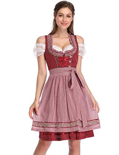 KOJOOIN Trachtenkleid Damen Dirndl Kurz mit Stickerei Exklusives Designer für Oktoberfest - DREI Teilig: Kleid, Bluse, Schürze Weinrot 38