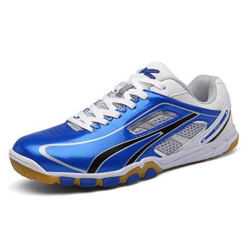 FJJLOVE Tischtennis-Schuhe, Breathable Badminton Schuhe No-Slip-Athletischer Sport-Turnschuhe Bequeme Racquetball Squash-Schuhe Für Damen Und Herren,Blau,37