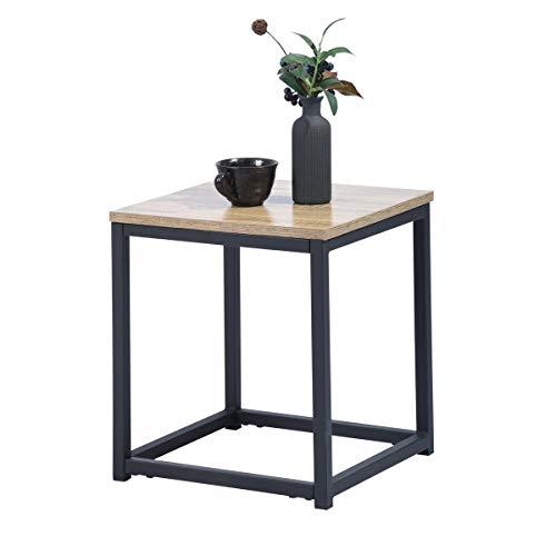 Mueble Cosy Facto End R1 Auxiliar Mesa Baja/angulosa para salón, Estructura de Metal y una Parte Superior de Oak, Estilo Industrial, marrón Claro, 35 x 35 x 40 cm