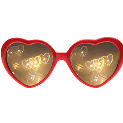 Daoyuan 3D Glasses Hearts Fireworks Diffraction Glasses Special Effect Light for Outdoor Music Party/Bar/Fireworks,Rot