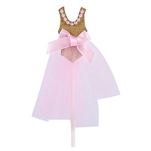 Cupcake topper taart decoratie voor kinderfeestjes en verjaardagsfeestjes roze prinses rok 10 stuks